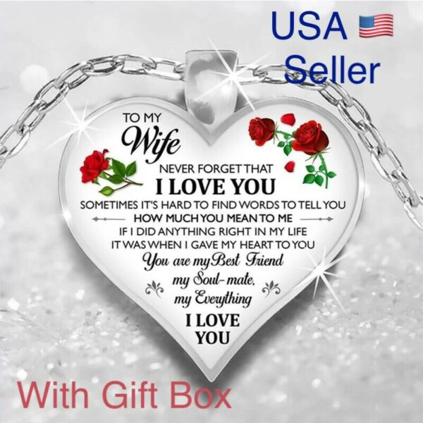 To My Wife I Love You Husband Heart Rose Necklace Valentines Day Gift N177 $13.99