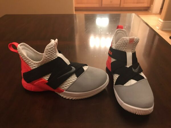 Beautiful Nike Lebron Soldier 12 XII Red Gray Basketball Sneaker Shoes Size 5