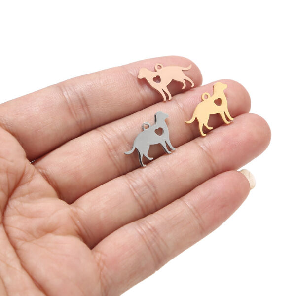 10pcs Polished Stainless Steel Pet Dog Charms diy Jewelry Making Crafts $4.49