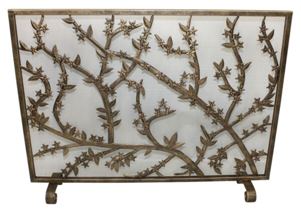 FIREPLACE SCREENS FLOWERING TREE FIREPLACE SCREEN MESH BACK ANTIQUE GOLD