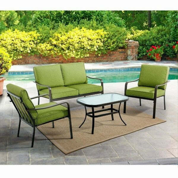 Outdoor Seating Area Cushioned Patio Loveseat Set Deck Chairs Glass Top Green 4 $377.00
