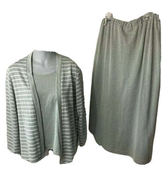 Vtg 70s Willi Acrylic Knit 3 Pc Set Sweater Silver Outfit Skirt Tank Stretch F3