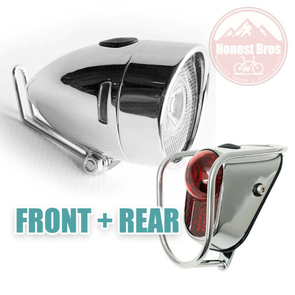 Classic Vintage Metal Bicycle light Front Rear Silver Road City Still Tail $39.50