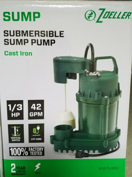NEW Zoeller 13 HP Cast Iron Submersible 42GPM Sump Pump w 9' Cord 1073-0001
