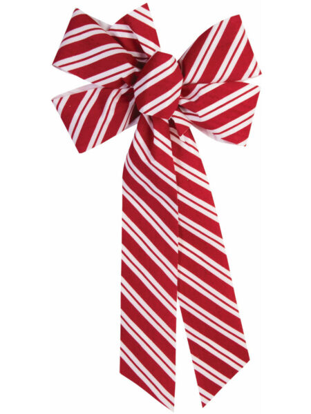 Candy Cane Red And White Striped Christmas Bow Door Wall Fireplace Decoration