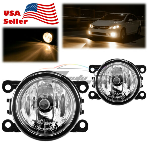 Pair Fog Light Clear OEM Quality Replacement For 2007-19 Mitsubishi Outlander F1