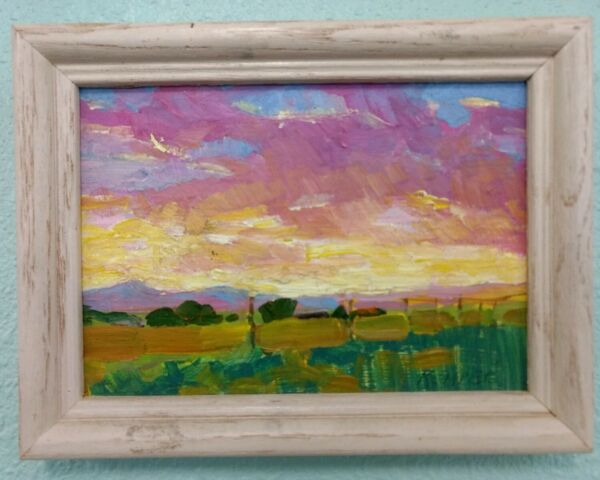 Vintage Impressionist Landscape Painting by Taos New Mexico Artist Kemper Coley