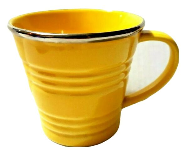 STARBUCKS 2007 14 OZ Yellow Sand Pail Bucket Coffee Mug Metallic Rim Coffee Cup
