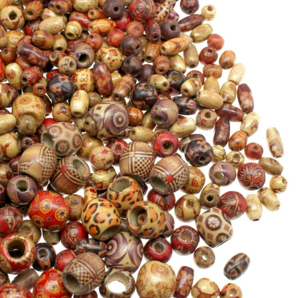 500 Wooden Beads for Jewelry Making Painted Assorted African Beads