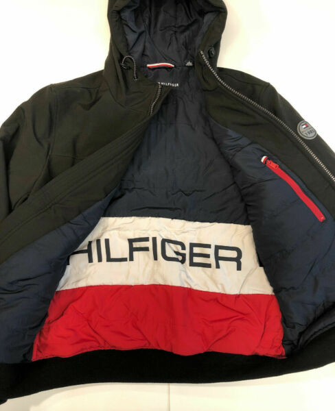 NWT Tommy Hilfiger Mens Hooded Soft Shell Bomber Jacket Black Size L $49.99