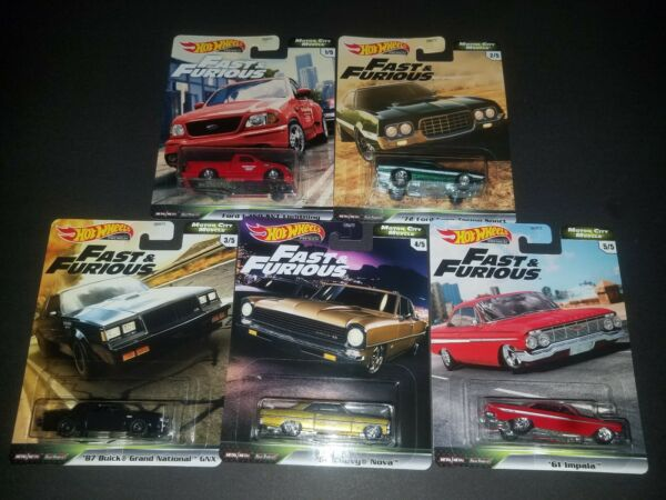 2020 HOT WHEELS PREMIUM FAST & FURIOUS FAST MOTOR CITY MUSCLE 5 CAR SET
