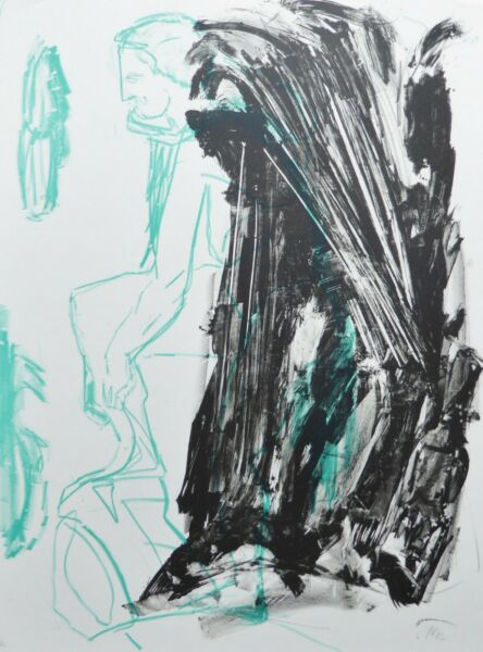 PER KIRKEBY (1938-2018) seated man HAND SIGNED LITHOGRAPH 1982 DANISH ARTIST
