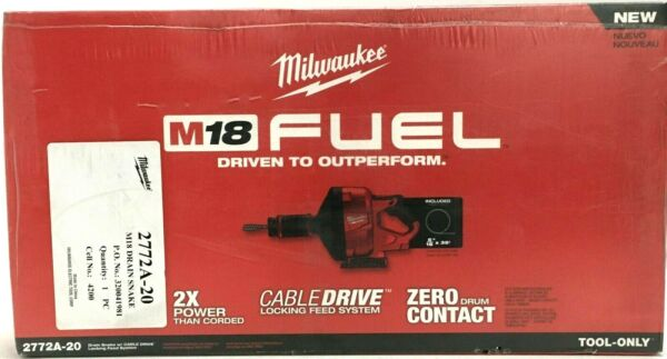 Milwaukee M18 FUEL Snake Auger 18V Cordless Drain Cleaning Cable Drive 2772a-20