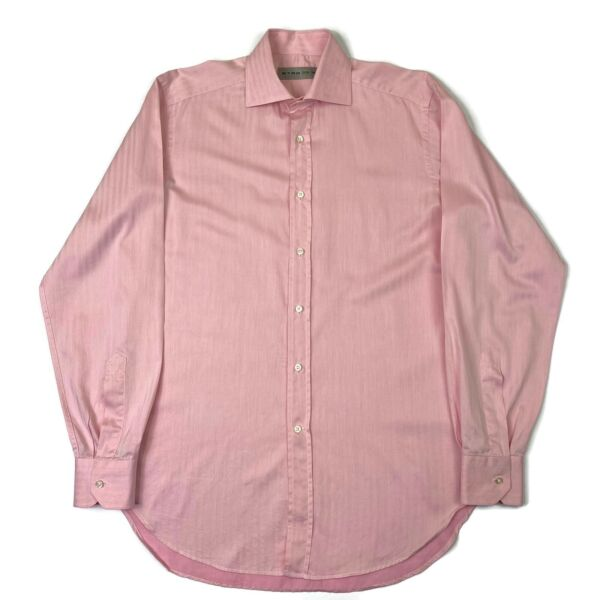 Etro Mens Shirt Button Up Front Pink Long Sleeve Cotton Milano Italy Small 39 $39.95