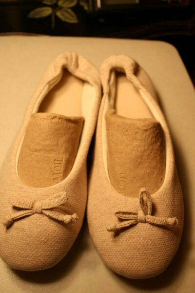 Wishcotton Womens Breathable Memory Foam Slipper Size -XL11-12 Beige -NWOB $12.99