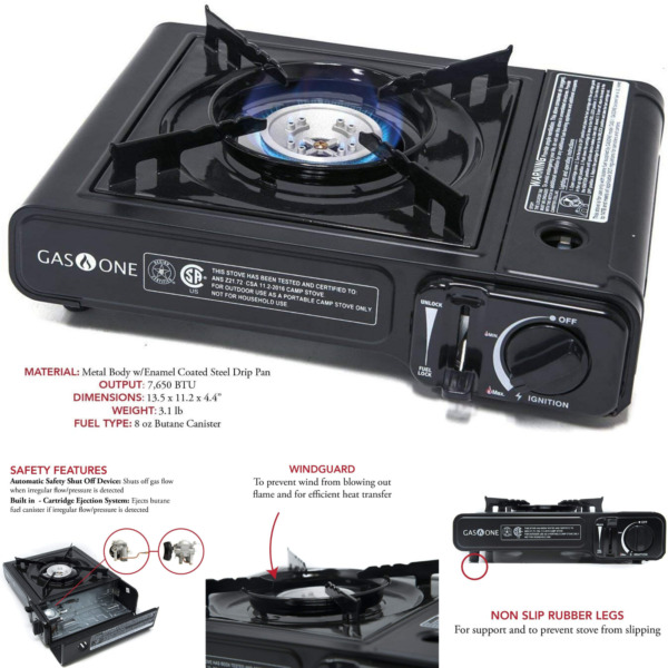 Portable Butane Gas Stove Black Automatic Shut Off Burner Non Slip Legs Cooking