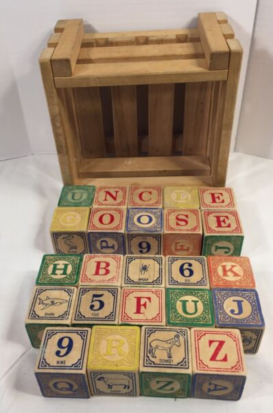 Uncle Goose Classic ABC Blocks with Wood Crate Storage Numbers Animals Embossed