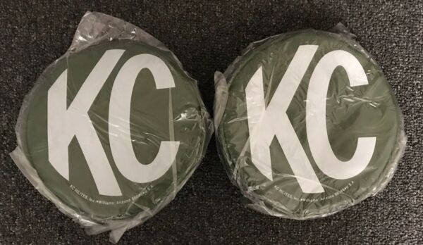 "SET OF 2 VINTAGE KC HILITES 5104 NOS VINYL GREEN 6"" ROUND COVERS $89.95"