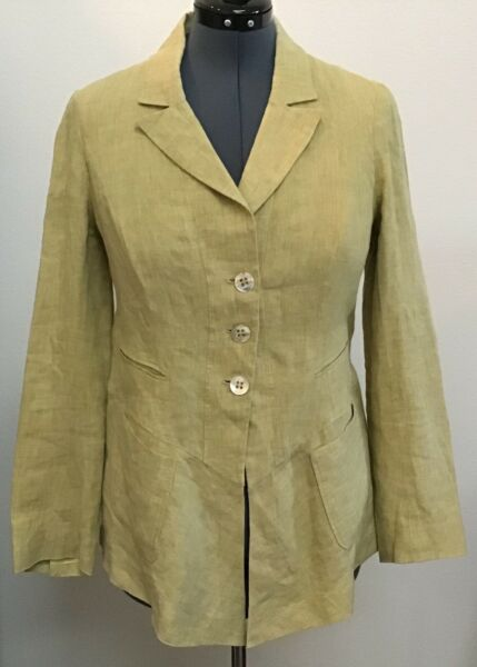 Irene Van Ryb M L Green Linen Slant Pockets Waterfall Long Peplum Blazer Top