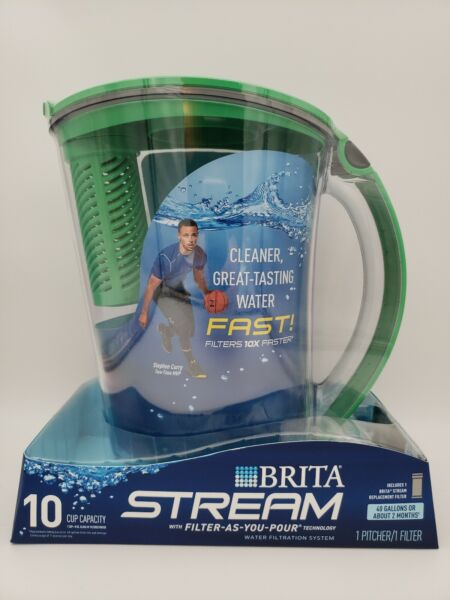 BRITA 10 Cup Stream Filter Pitcher amp; 1 Filter Green ☆ Filter As You Pour ☆ New