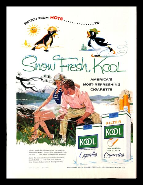 1958 Kool Cigarettes Vintage PRINT AD Snow Fresh Couple Fishing Lake Painting