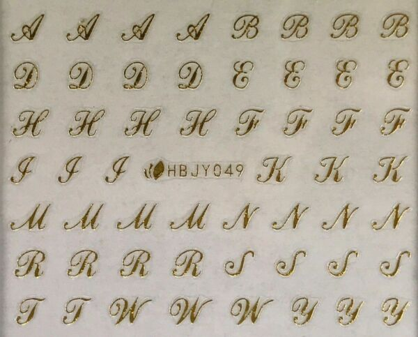 Nail Art 3D Decal Stickers Alphabet Letters Uppercase Gold HBJY049