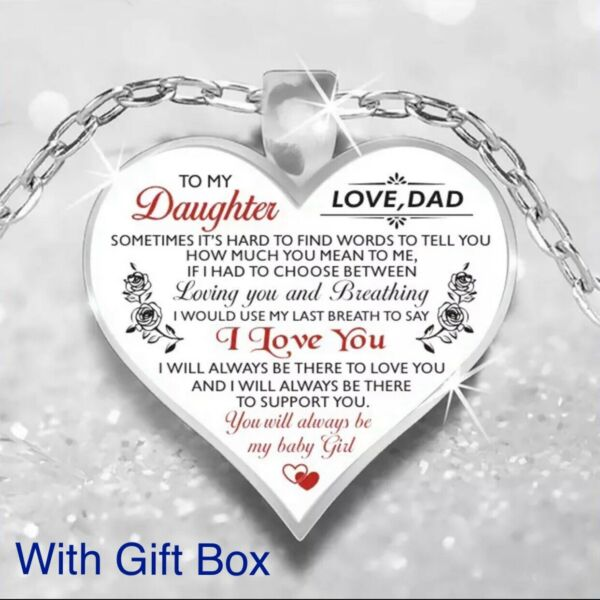 To My Daughter Love Dad Father amp; Daughter Heart Rose Necklace 23quot; N103