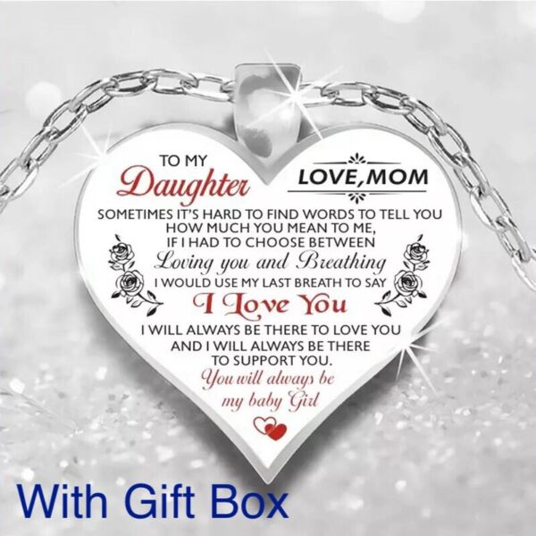 To My Daughter Love Mom Mother amp; Daughter Heart Rose Necklace 23quot; N102 1 $13.95