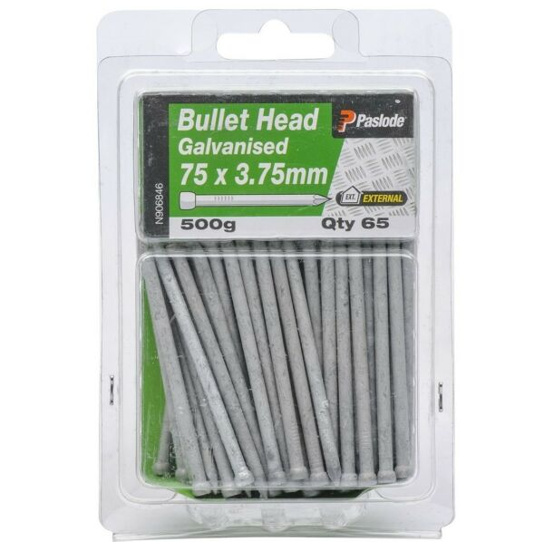 Paslode BULLET HEAD NAIL 500g Galvanised Steel AUS Brand- 75x3.75mm Or 100x4.5mm