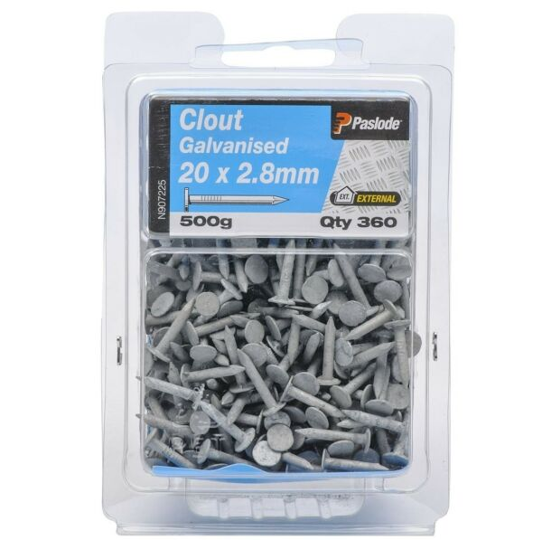 Paslode CLOUTS NAILS 500g Galvanised AUS Brand - 20x2.8mm 25x2.8mm Or 30x2.8mm