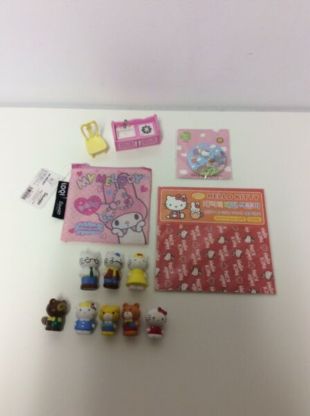 Sanrio Lot Hello Kitty Figures Furniture Stickers Button My Melody Bag
