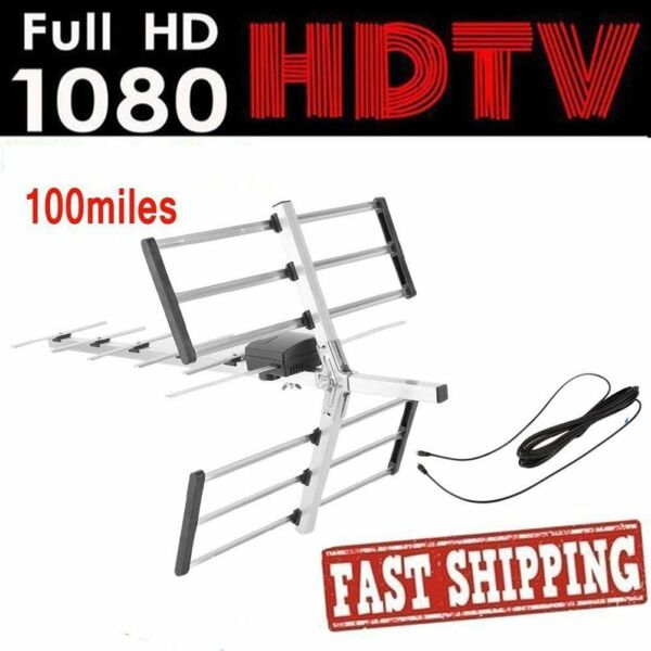 100 Mile HDTV 1080p Outdoor HD TV Antenna Digital UHFVHF FM Radio 360° Rotate H