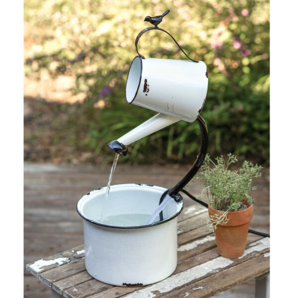 Country WATER PAIL ELECTRIC FOUNTAIN Farmhouse Primitive Outdoor Flower Rustic