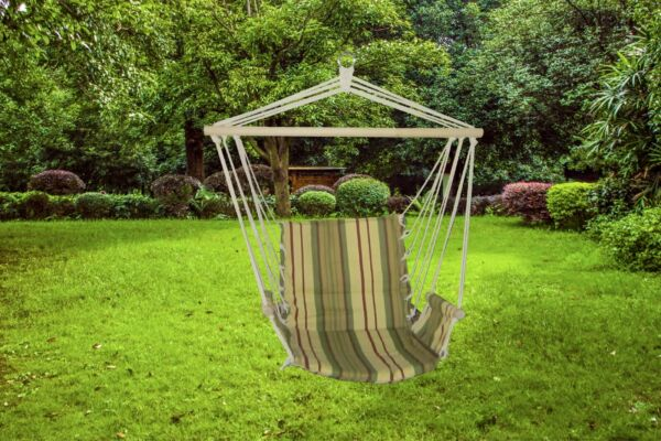 Luxurious Relaxing Green Stripe Cushioned Single Hammock Swing $39.99