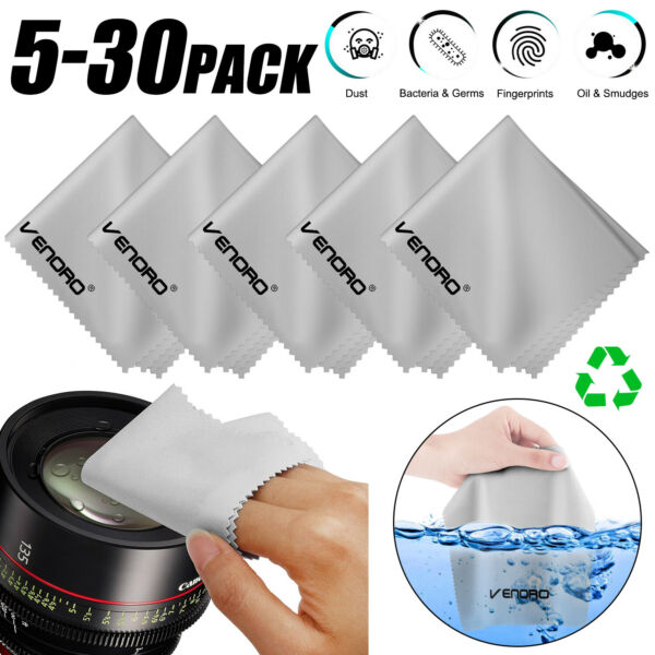 5 30pc Microfiber Cleaning Cloth For Camera Lens Glasses Phone Screen TV Monitor $5.99