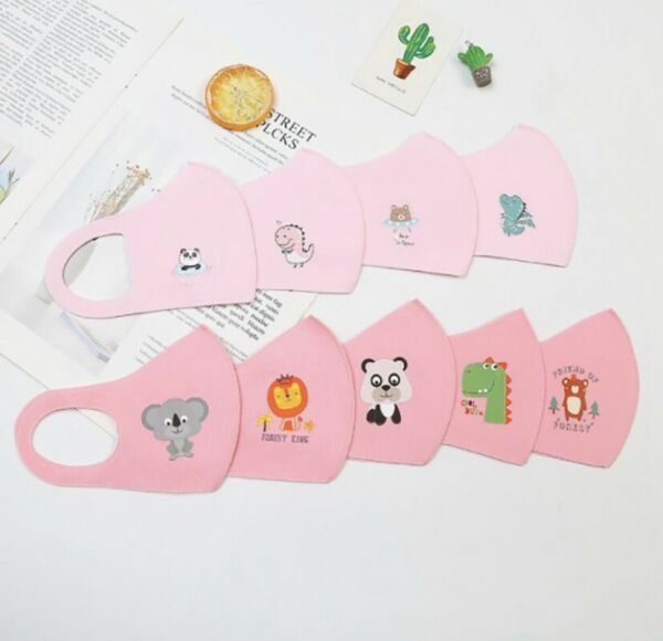 Lot of 12 Reusable Washable Cloth Face Cover Stretch  Mask Kids Toddler. PINK