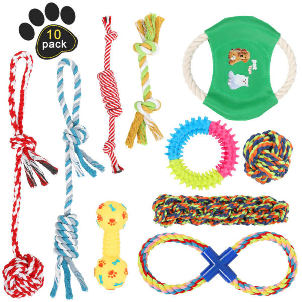 Dog Toys Aggressive Chewers Puppy chew Toys for Dogs Rope Dog Toy Set of 10 $16.30