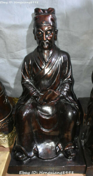 Big Bronze Gilt Seat People Man Ancient Medical scientist Li Shizhen Shi Zhen