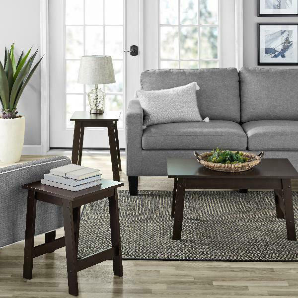 Mainstays Pilson 3 Piece Coffee Table and End Table Set Espresso Finish