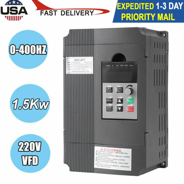 New 3HP 1.5KW 220V Variable Frequency Drive Inverter VFD Single Phase To 3 Phase
