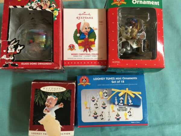 Lot Of Hallmark Keepsake & Matrix Porky Pig Taz Looney Tunes Ornaments & More