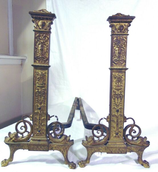 Antique Ornate Neo Classical Bronze Paw Feet Andiron Dolphins Scrolls Fireplace