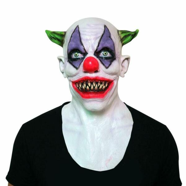 Creepy Evil Scary Clown Mask Latex Rubber GREEN HORNED CLOWN US Prank Halloween