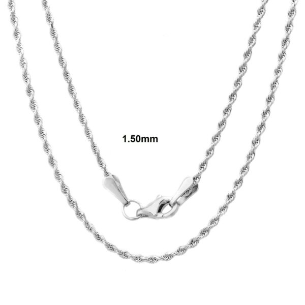 Solid Sterling Silver Diamond Cut Rope Chain Solid 925 Made In Italy New $33.87