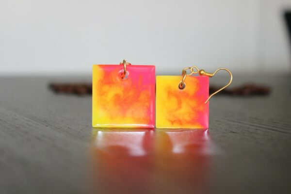 fashion FIRE square earrings 2020 summer Handmade Resin accessory gift