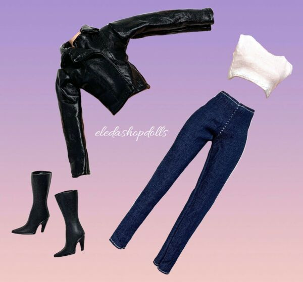 Barbie Doll Clothes Lot Black Jacket Jeans Top Boots Fashion Pack By Eledoll