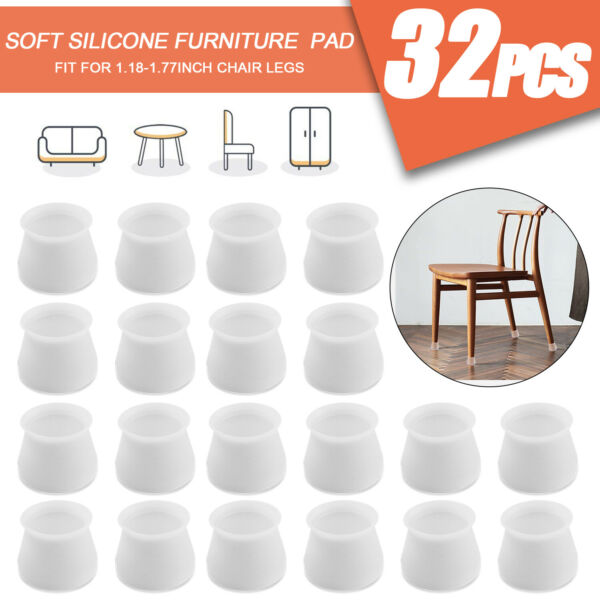 32Pcs Silicone Furniture Leg Feet Floor Protector Table Chair Cap Cover Pads US