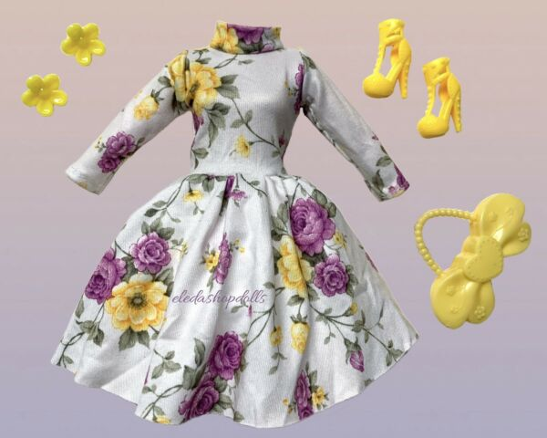 Barbie Doll Clothes Lot Vintage Floral Dress Fashion Pack By Eledoll
