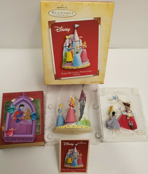Hallmark Keepsake Ornaments Disney Lot Of 3 2001 2004 2007 Sleeping Beauty more