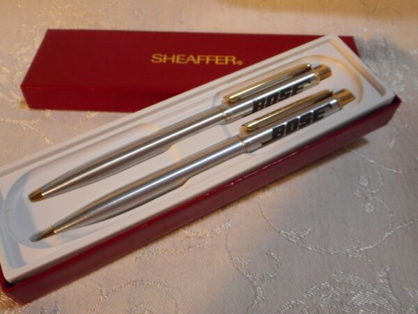 Sheaffer Ballpoint Pen amp; Pencil Set marked BOSE Original Red Box Silver tone USA